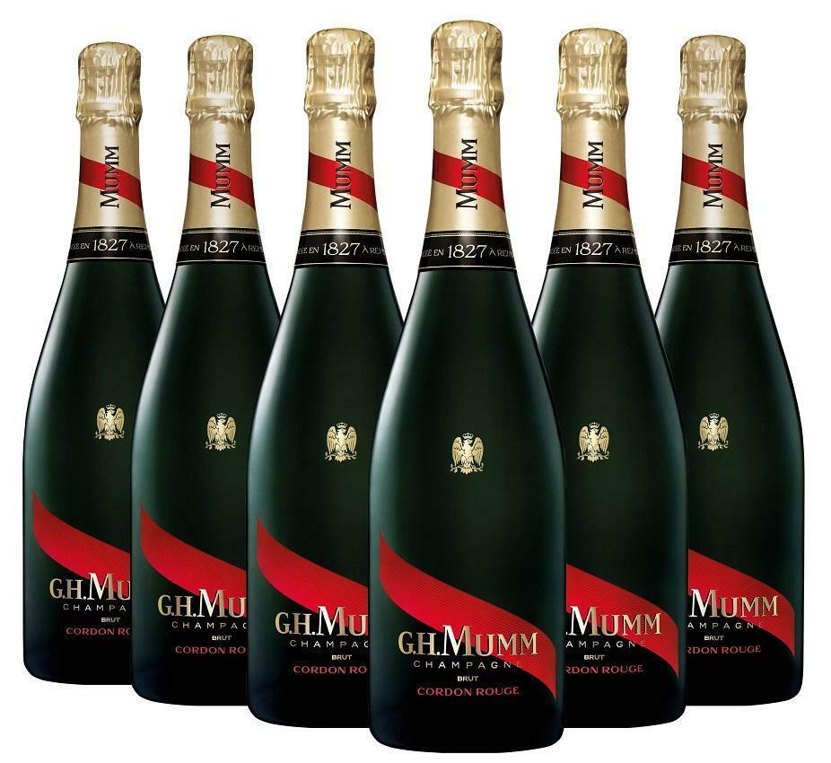 g.h. mumm g.h. mumm champagne cordon rouge cuve'e privilege brut 75 cl 6 bottiglie