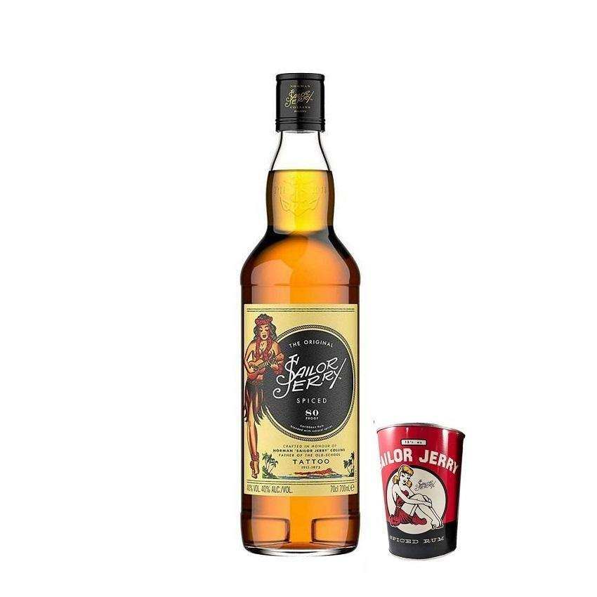 sailor jerry sailor jerry spiced caribbean rum  80 proof 70 cl e 1 can cups