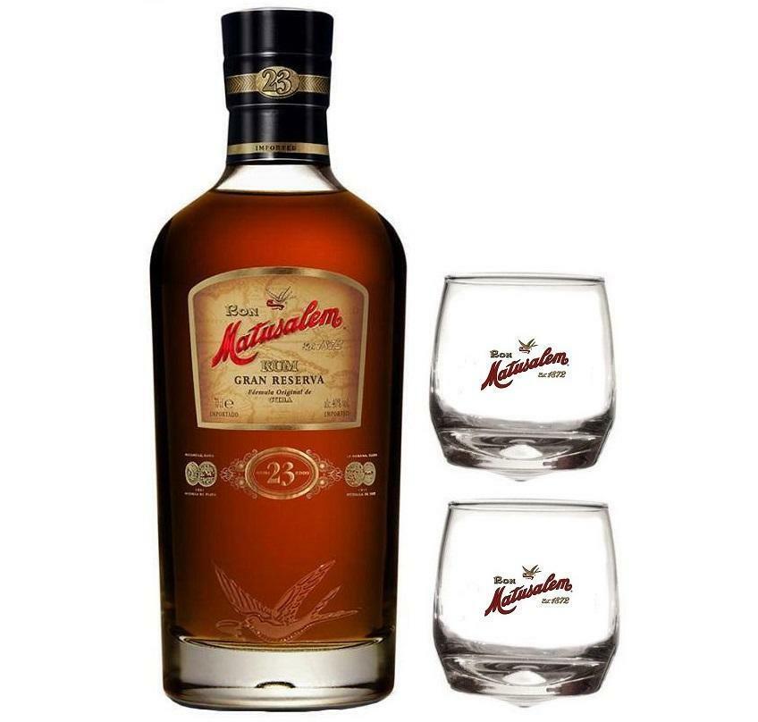 matusalem rum 23 gran reserva 70 cl  in astuccio + 2 bicchieri matusalem logo bianco