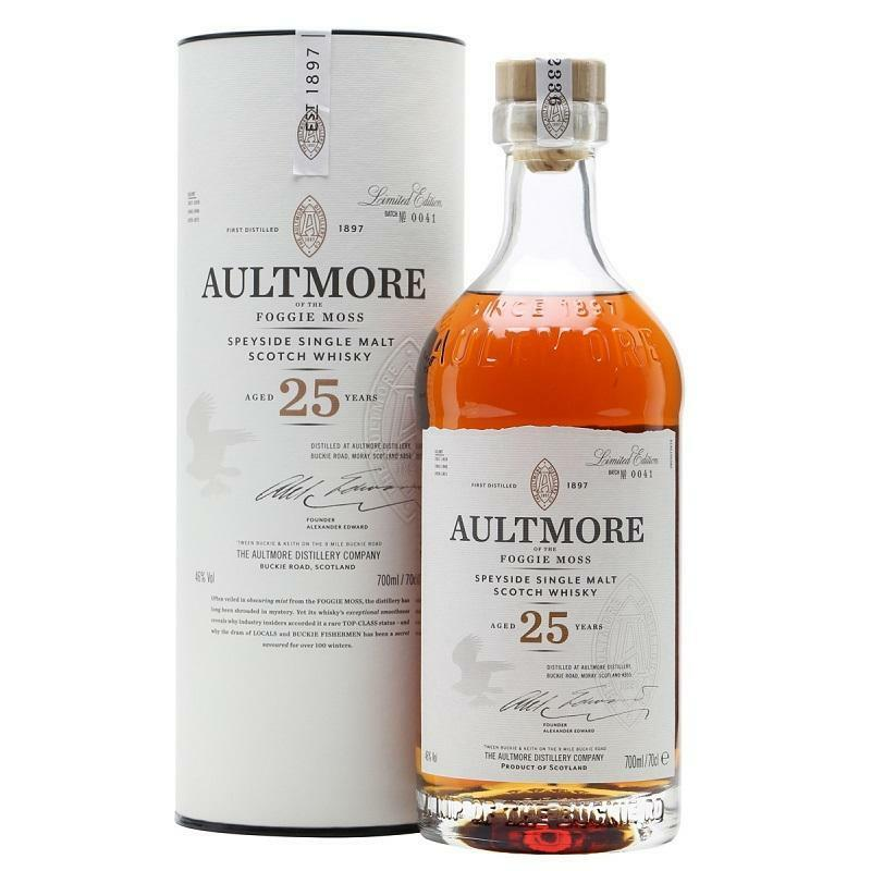aultmore aultmore speyside silgle malt scotch whisky aged 25 years 70 cl in astuccio