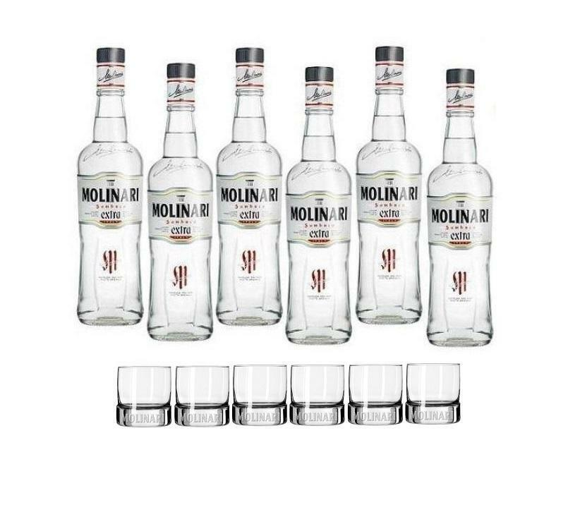 molinari molinari sambuca extra 1,5 litri 6 bottiglie con 6 bicchieri originali