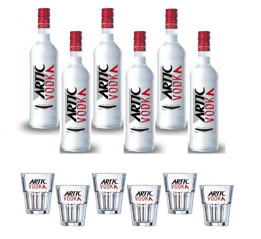 artic vodka classica 1 litro 6 bottiglie con 6 bicchieri vetro rock artic