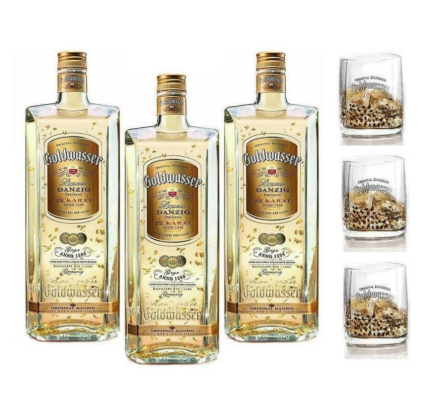 goldwasser goldwasser liqueur danzig der lachs 22 karat 50 cl 3 bottiglie con 3 bicchieri