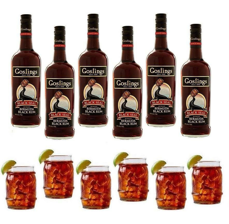 gosling's gosling's rum black seal 1 lt 6 bottiglie con 6 bicchieri a forma di botte