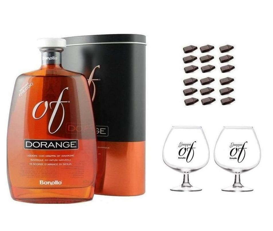 bonollo bonollo grappa dorange 70 cl in astuccio con due bicchieri e cioccolatini fondenti