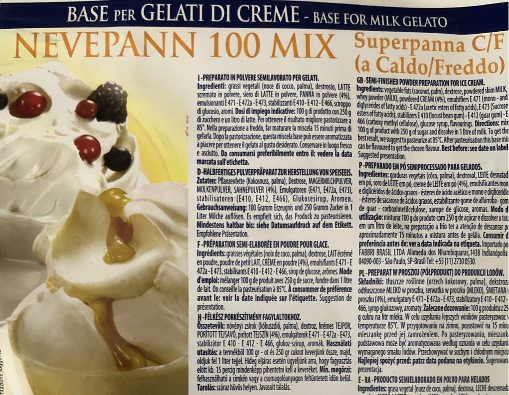 fabbri fabbri base per gelati nevepann 100 mix superpanna cf per gelati creme 2 kg