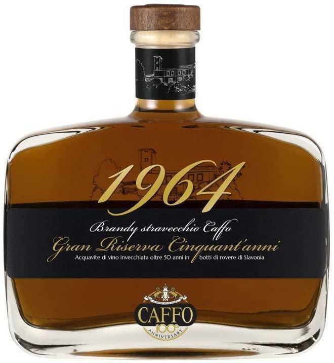 caffo caffo brandy 1964 stravecchio gran riserva cinquant'anni 70 cl in cofanetto di legno