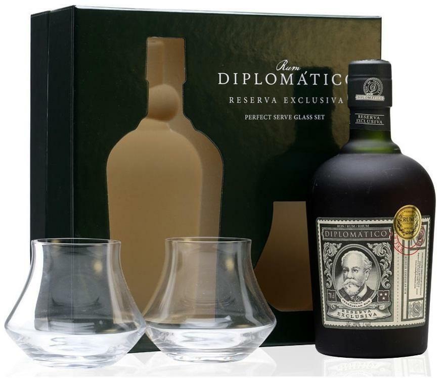diplomatico diplomatico ron reserva exclusiva 70 cl glass set confezione regalo + 2 bicchieri