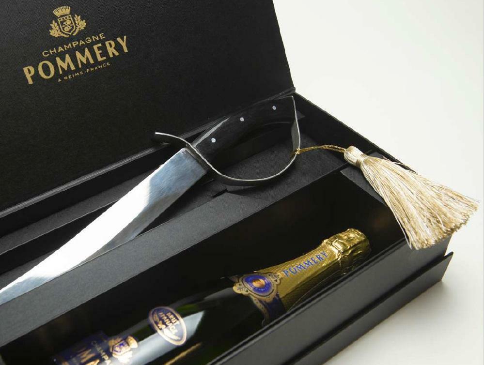 pommery pommery brut apanage 75cl con sciabola con confezione regalo