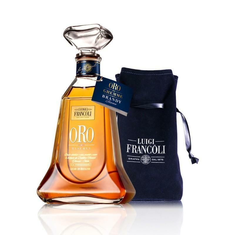 luigi francoli luigi francoli confezione legno ghemme d'oro brandy 70 cl 2 ballon + cioccolato audere