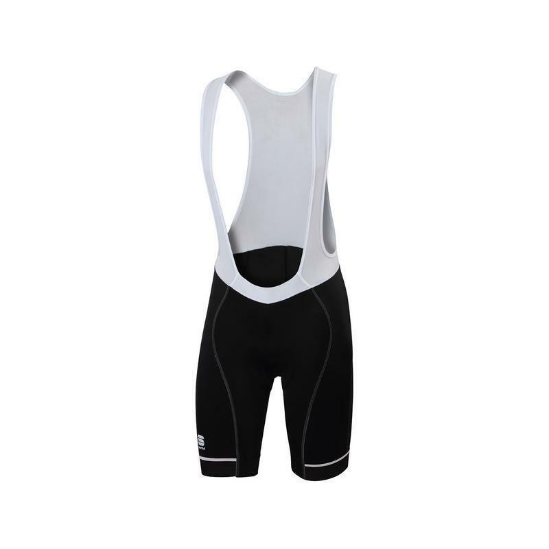 sportful pantaloncino con bretelle giro nero/bianco