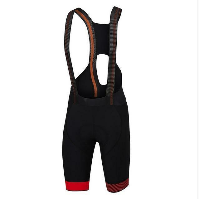 sportful sportful pantaloncino con bretelle bodyfit pro nero/rosso