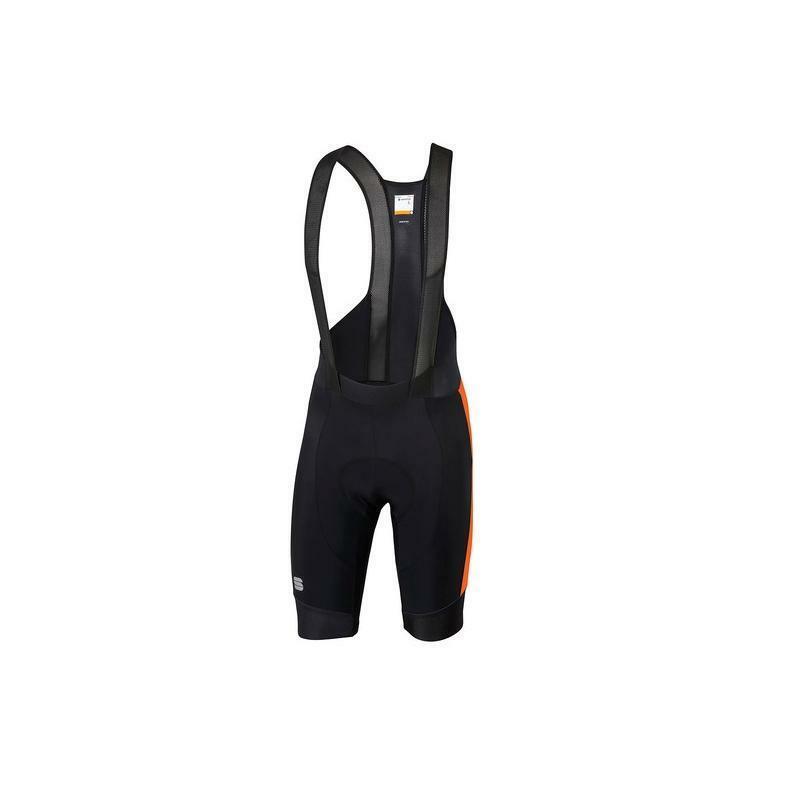sportful sportful pantaloncini con bretelle gts nero/arancio