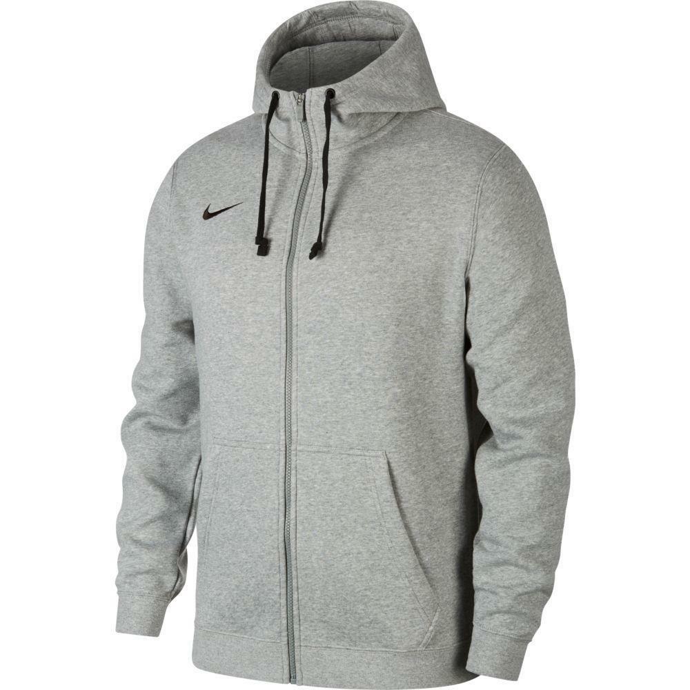 nike nike felpa bambino team club 19 zip hoodie grigio chiaro