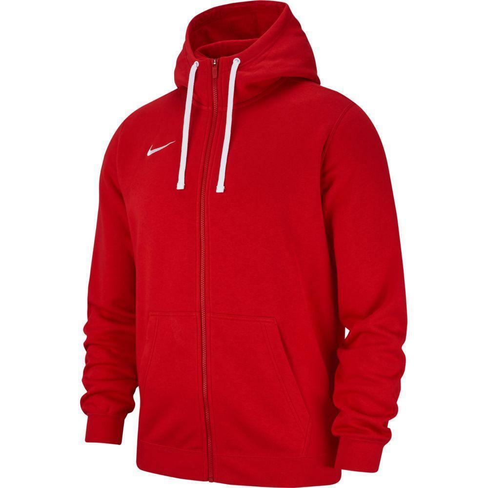 nike nike felpa bambino team club 19 zip hoodie rosso