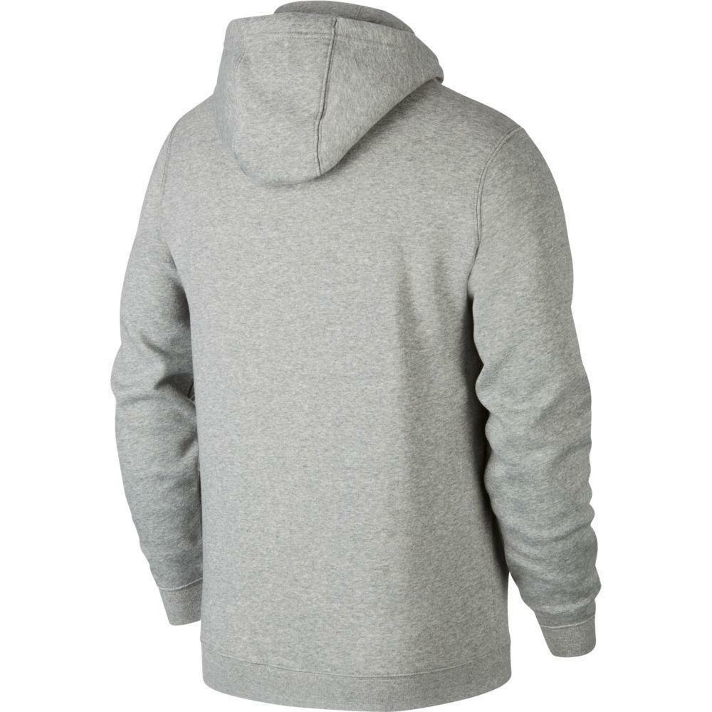 nike nike felpa team club 19 zip hoodie grigio chiaro