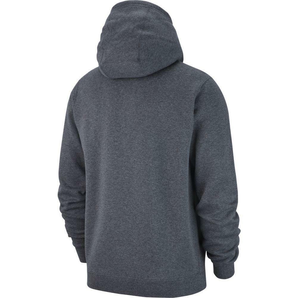 nike nike felpa team club 19 zip hoodie grigio