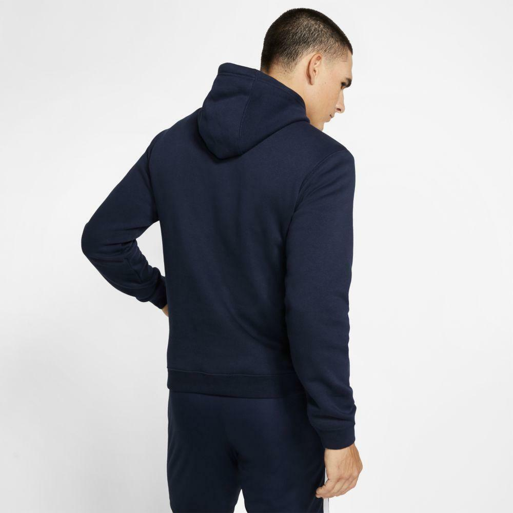 nike nike felpa team club 19 hoodie blu