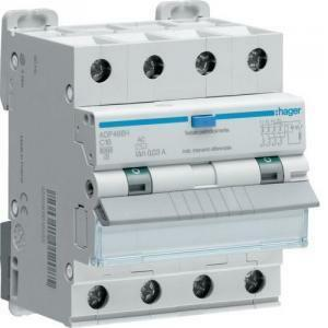 hager interruttore automatico differenziale compatto modulare 4 poli 30ma ac 20a 6ka c 4 moduli adp470h