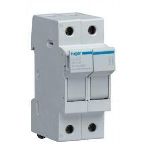 hager base per fusibili cilindrici portafusibile 10.3x38 2p 2 moduli ls502