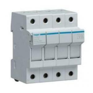 hager base per fusibili cilindrici portafusibile ul 10.3x38 3p + n 4moduli lu504