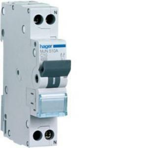 hager hager interruttore automatico per comando e protezione 1p+n 10a 4.5ka c 1 modulo mjn510a