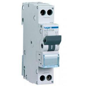 hager hager interruttore automatico per comando modulare 1p+n 20a 4.5ka c 1 modulo mjn520a