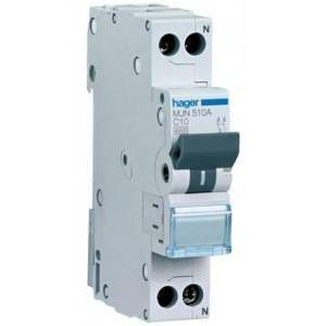 hager interruttore automatico modulare 1 polo + neutro 25a 4.5 ka c 1 modulo mjn525a