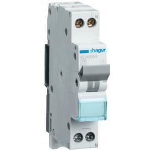 hager interruttore automatico per comando e protezione 1p+n 6a 6 ka c 1 moduli mln506a