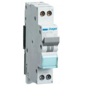hager interruttore automatico per comando e protezione modulare 1 polo + neutro 10a 6 ka c 1 modulo mln510a