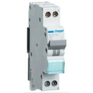 hager interruttore automatico  per comando 1p+n 16a 6 ka c 1m mln516a