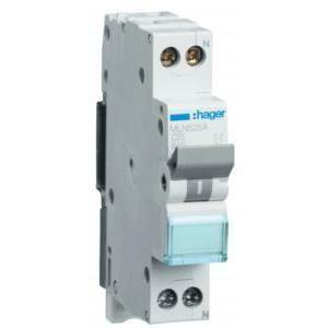 hager interruttore automatico per comando 1p+n 25a 6 ka c 1m mln525a