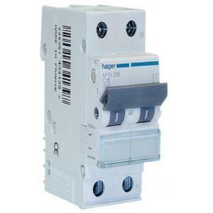 hager interruttore automatico per il comando e protezione1p+n 6a 4.5ka c 2 moduli myn506