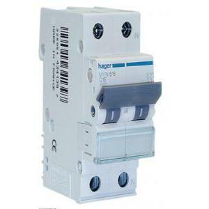 hager hager interruttore automatico modulare per comando 1p+n 16a 4.5ka c 2 moduli myn516