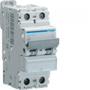 hager interruttore automatico modulare 2 poli 16a ka c 2 moduli mca216