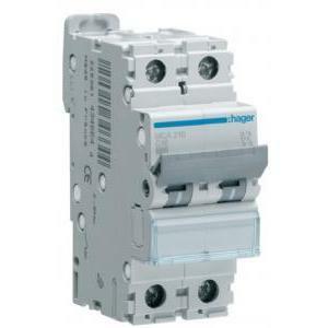 hager interruttore automatico modulare 2 poli 20a 6 ka c 2 moduli mca220