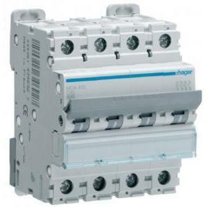 hager interruttore automatico modulare automatico di comando e protezione 4 poli 6a 6 ka c 4 moduli mca406