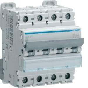 hager interruttore automatico modulare 4 poli 10 a 6 ka c 4 moduli mca410