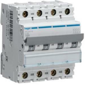 hager interruttore automatico di comando e protezione 4 poli 16a 6 ka c 4 moduli mca416