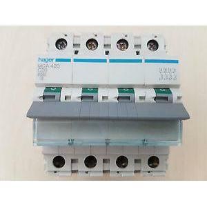 hager hager interruttore automatico modulare 4 poli 20a 6 ka c 4 moduli mca420