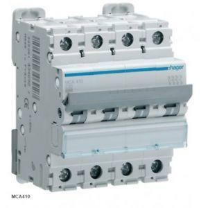 hager interruttore automatico modulare 4 poli 50a 6 ka c 4 moduli mca450