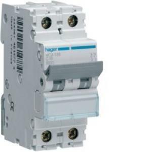 hager interruttore di comando automatico modulare 1 polo+ neutro 6a 6 ka c 2 moduli mca506
