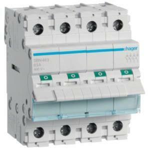 hager hager interruttore non automatico modulare  4 poli 63a  4 moduli sbn463