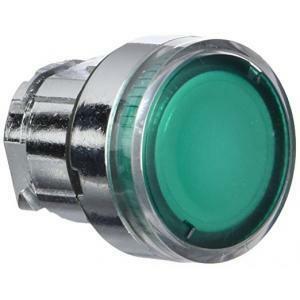 schneider schneider testa pulsante luminoso a ghiera testa con gemma liscia verde zb4bw33