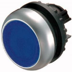 eaton eaton m22-dl-b pulsante piatto luminoso  filo ghiera blu color titanio 216931