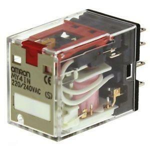 omron omron rele' per applicazioni di potenza 4spdt, 5 a/250 vca terminali innesto my4in220240acs-1