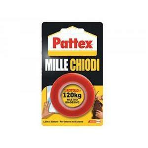 pattex nastro biadesivo di montaggio extraforte pattex millechiodi tape rotolo 19mmx1,5m 1415580