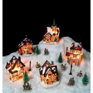 giocoplast giocoplast set villaggio 5 casette fibre ottiche addobbi natale decorazioni natalizie 31511874