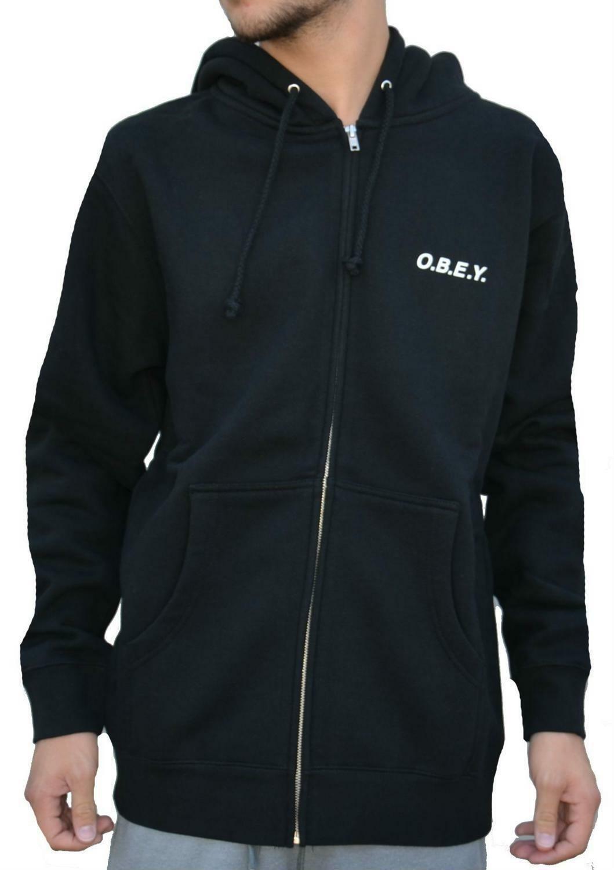 obey obey o.b.e.y. zip giacchetto uomo nero