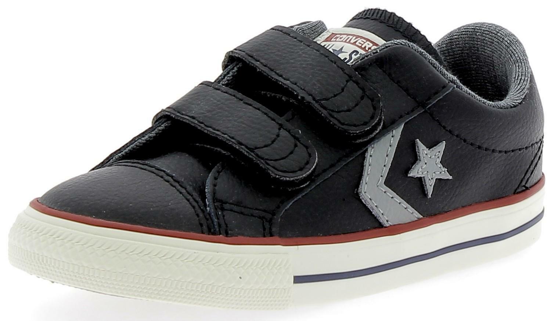 converse converse star player ev 2v ox scarpe sportive bambino nere strappi